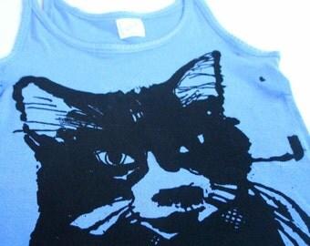 SALE My Girl - Cat Singlet Top in Sky Blue - Screen Printed