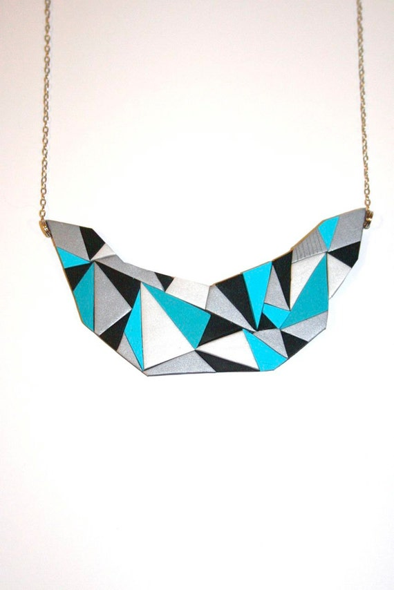 Crown Necklace with Triangles in Aqua Blue - Polymer Clay