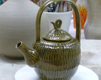 Ceramic Teapot in grayish green glaze.
