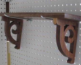 Walnut Shelf with Scroll Brackets