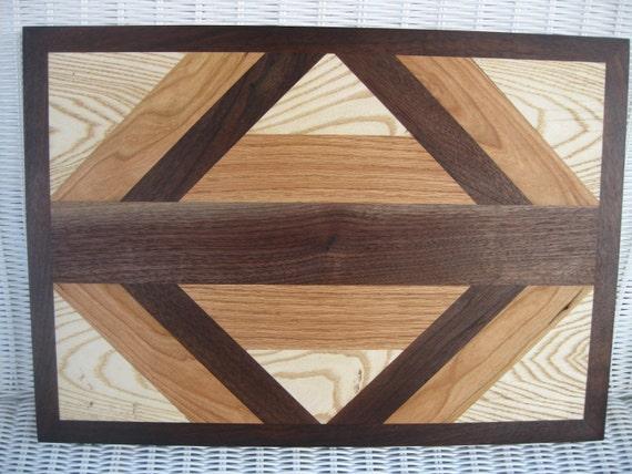 Cutting Board Hardwood Geometric Cheese Board with Ash, Oak, Cherry, and Walnut