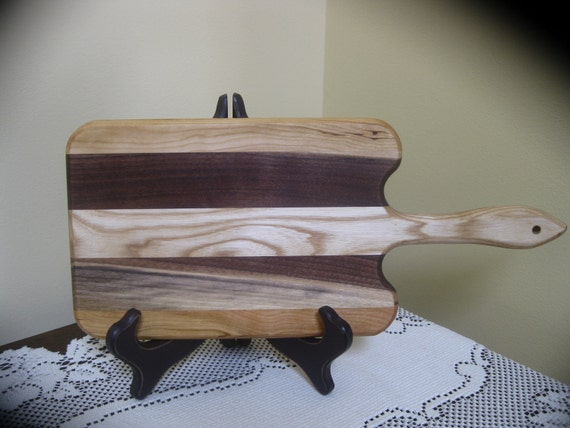 Walnut Cherry and Ash Handled Cheese Board Striped with Hardwoods