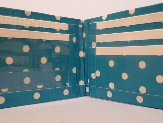 handmade duct tape wallet blue with white dots