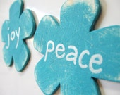 Cottage chic fridge magnets. Joy and Peace. Mothers Day gift.