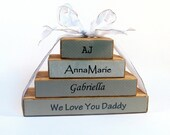 Rustic family name block set. FOUR blocks, custom made for your family. Perfect Grandparent, parent and family gift