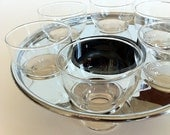 Mid Century Shot Glasses with Stainless Steel Serving Caddy