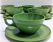 Apple Green Melmac Teacups and Saucers Mid Century Modern
