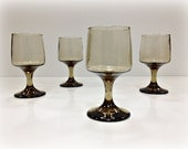 Vintage Wine Glasses Smoke Glass Libbey Accent