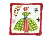 Vintage Patchwork Pillow Sun Bonnet Girl on Red Dots