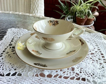 Bavarian China Teacup, Saucer, and Dessert Plate