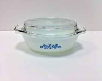 Cornflower Blue Fire King Casserole Dish Blue and White