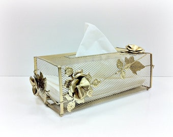 Kleenex Holder Regency Gold Metal Tissue Box Cover