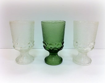 Vintage Water Goblets Crystal and Green