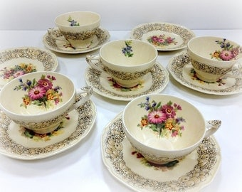 Crown Ducal Florentine China Tea Cups and Saucers