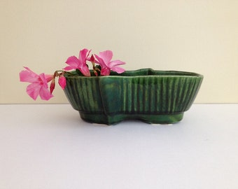 Vintage Ceramic Planter Green