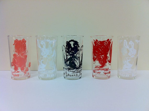 Vintage Character Drinking Glasses