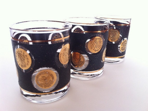 Libbey Whiskey Glasses Black with Gold Coins