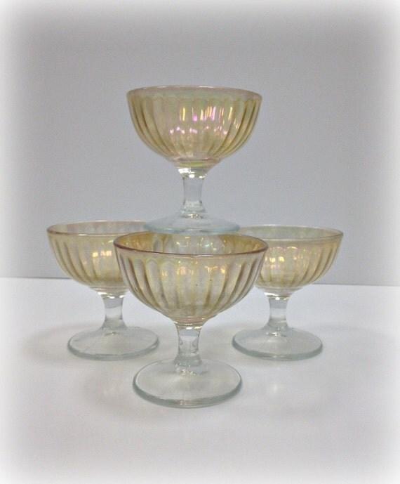 Vintage Glassware Iridescent Champagne Sherbet Stemware