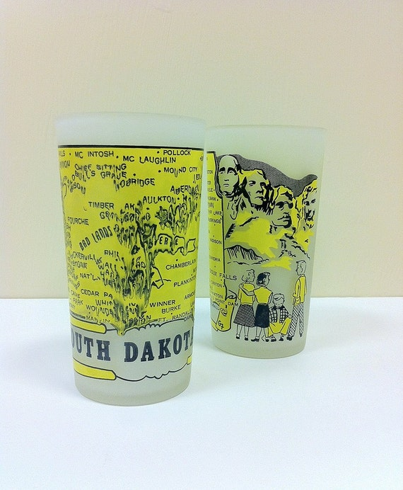 State Tumblers South Dakota Hazel Atlas Glass 1950s