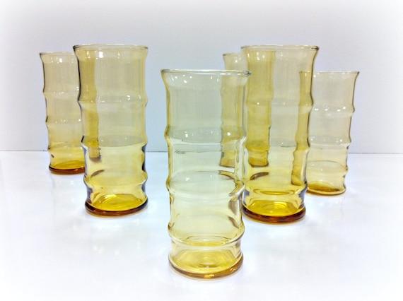 Amber Glassware Set Tiki Bamboo