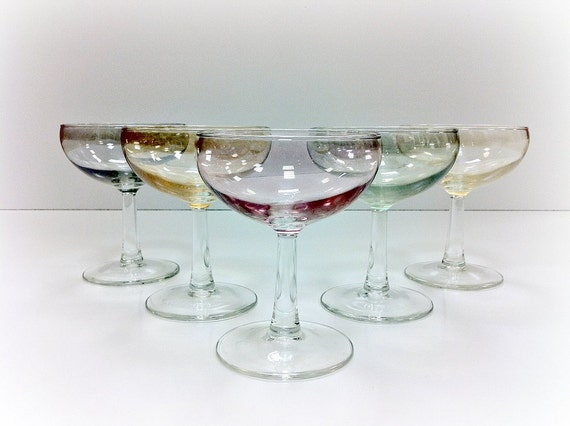 Champagne Glasses Pastel Colored Stemware