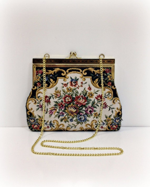 Black Tapestry Clutch Purse with Gold Chain