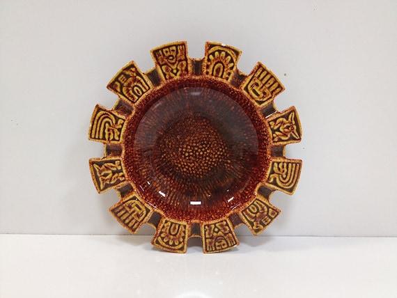 Ceramic Dish Mid Century Aztec Tray