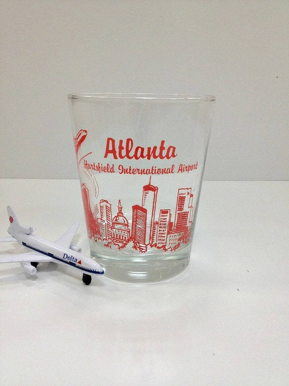 Vintage Atlanta Hartsfield Airport Souvenir Glass
