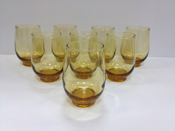 Libbey Tempo Honey Gold Amber Glasses