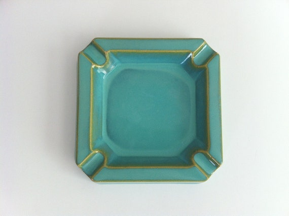 Mid Century Turquoise Ashtray