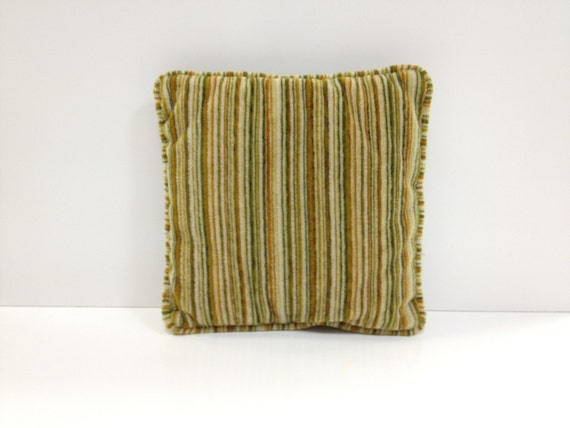 Vintage Throw Pillow Green and Brown Striped Plush Corduroy
