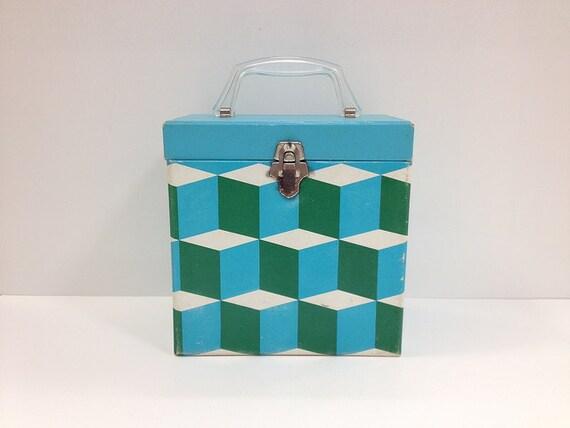 Platter Pak Record Box Blue Green Op Art Design