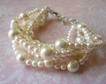 Pearl Bridesmaids Bracelet Ivory Pearl Bracelet Bridesmaids Jewelry Twisted Pearl Wedding Bracelet Bridesmaids Pearl Jewelry Bridal Bracelet