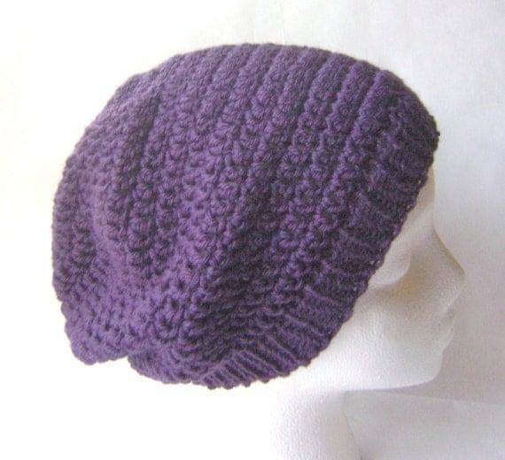 Crochet Hat in Eggplant, Slouchy Beret, Deep Purple Wool Womans Crochet Hat