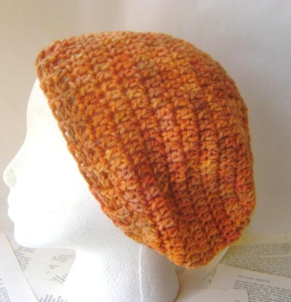 Crochet Beanie Hat, Slouchy Beanie in Orange Wool, OOAK