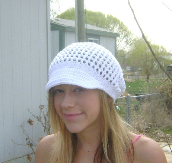 Cotton Crochet Hat with Brim, Mesh Hat for Spring in White