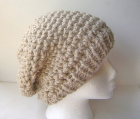 PDF Crochet Pattern, Chunky Crochet Slouch Hat with Knit or Crochet ...