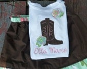 RESERVED SHIRT Appliqued cowgirl boot with raggy flower shirt / onesie with matching solid brown ruffle skirt