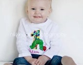 ORIGINAL Very Hungry Caterpillar Choose your number or initial dot print appliqued birthday shirt