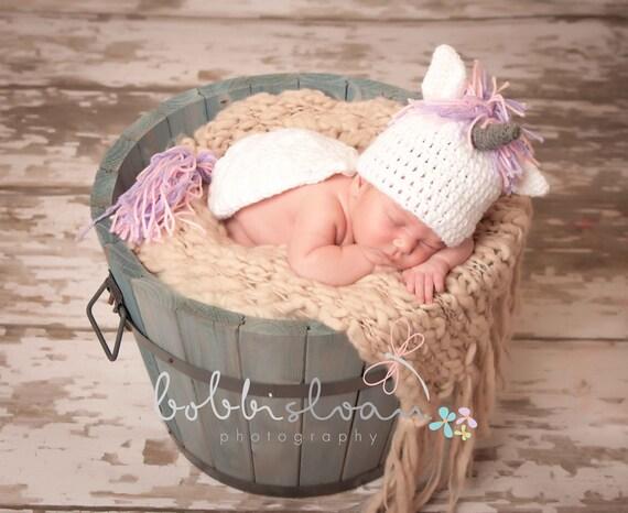 Crochet Baby Unicorn Hat and Critter Cape Set