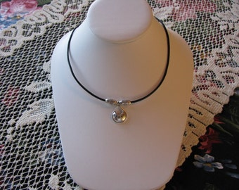 Sterling Silver Pendant and Leather Necklace