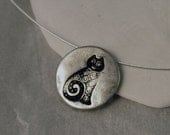 cat necklace sterling silver disk