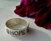 Hope Ring, handstamped ring, personalized ring, personalized jewelry, sterling silver band, hope jewelry, rings, quote ring, hand stamped ri