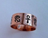 Egyptian ring, Egyptian Hieroglyph, Eye Of Horus ring, Anhk Copper ring, Cartouche ring, copper, personalized ring,  message jewelry, rings