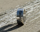 Custom Personalized, etched ring, Sterling silver, silver band custom, your inscription, inside and out, gift for her, custom wedding ring