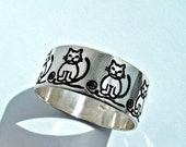 Personalized Cat ring, Sterling silver cat, pussy cat ring, cat jewelry, cat lovers ring, cat love jewelry, birthday cat ring, cute cat ring