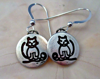 Cat gift, custom cat earrings, personalized cat earrings, sterling cats, silver cats,  cat jewelry, tiny cats, birthday cats,