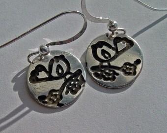 Personalized Bird, bird jewelry, bird on branch, sterling silver earrings, birds, bird earrings, love birds, bird for her, silver bird