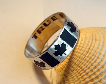 Custom Personalized Canadian flag etched ring Sterling silver band Canada Maple Leaf