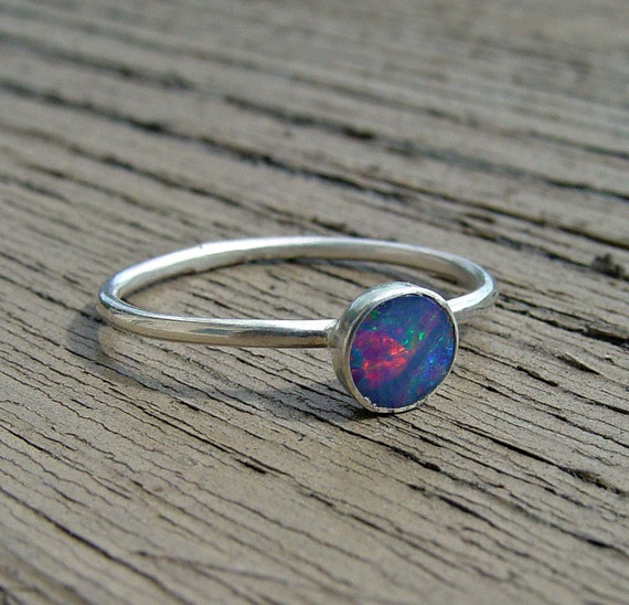 Ring opal doublet blue sterling silver